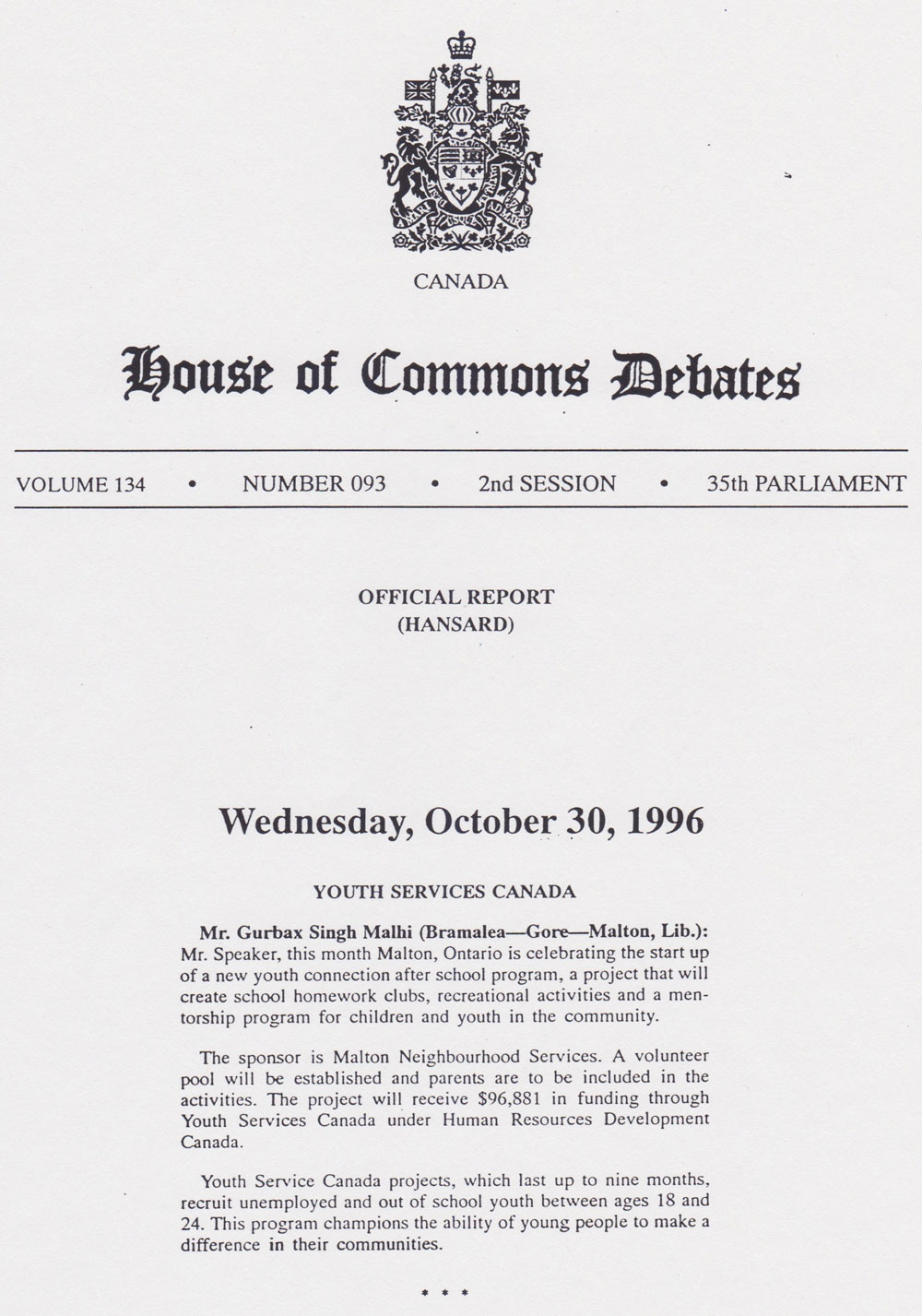 10/30/96 Youth Services Canada
