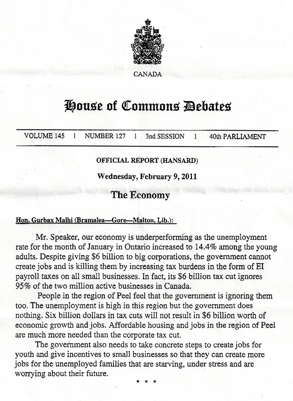 The Economy Speech