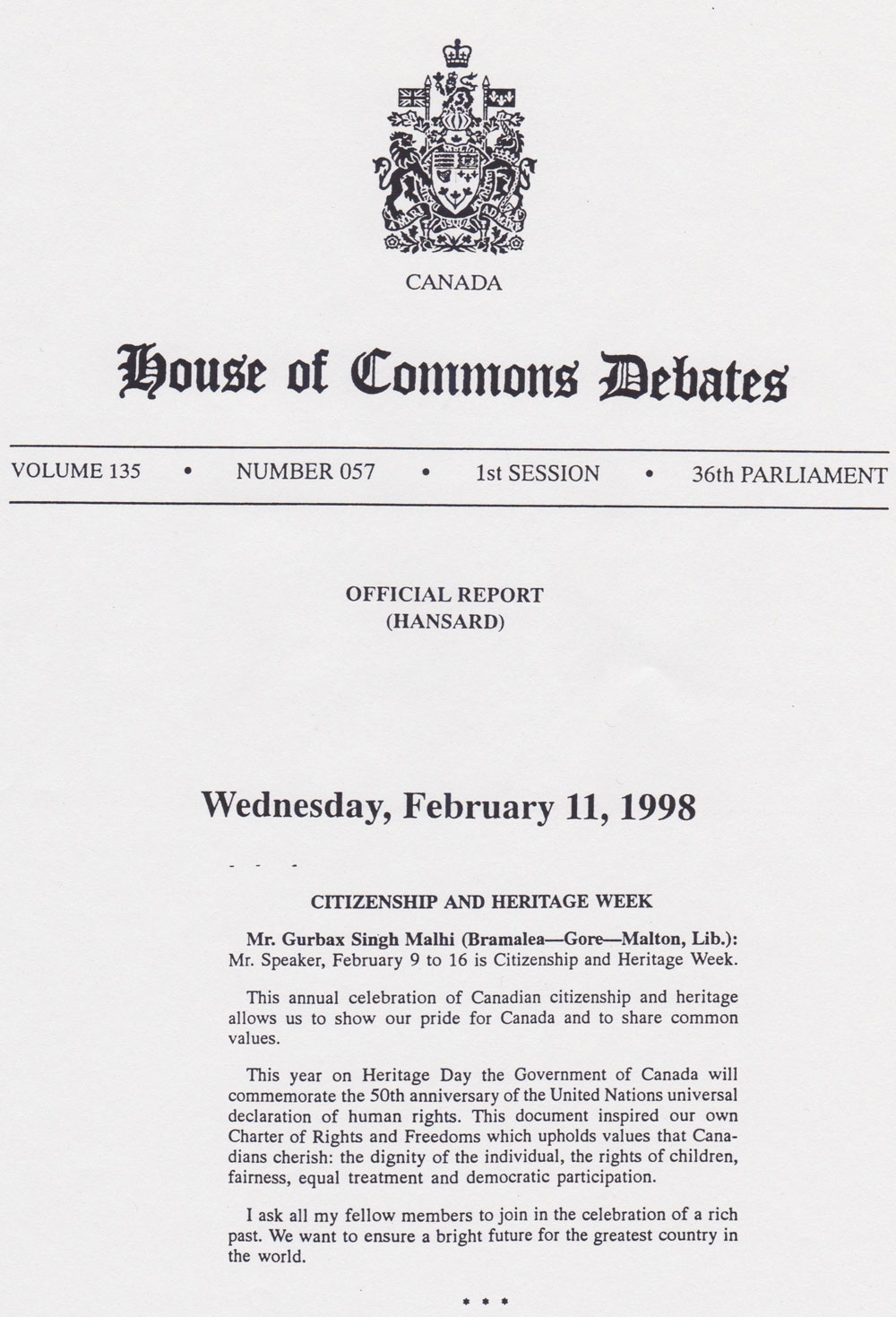 02/11/98 Citizenship and Heritage Week